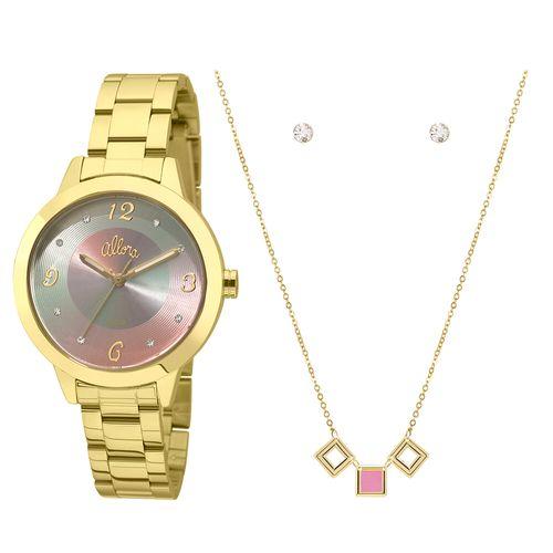 ea917bec0c7 Kit Relógio Allora Feminino Candy Colors AL2036FGR K4T - Dourado  AL2036FGR K4T