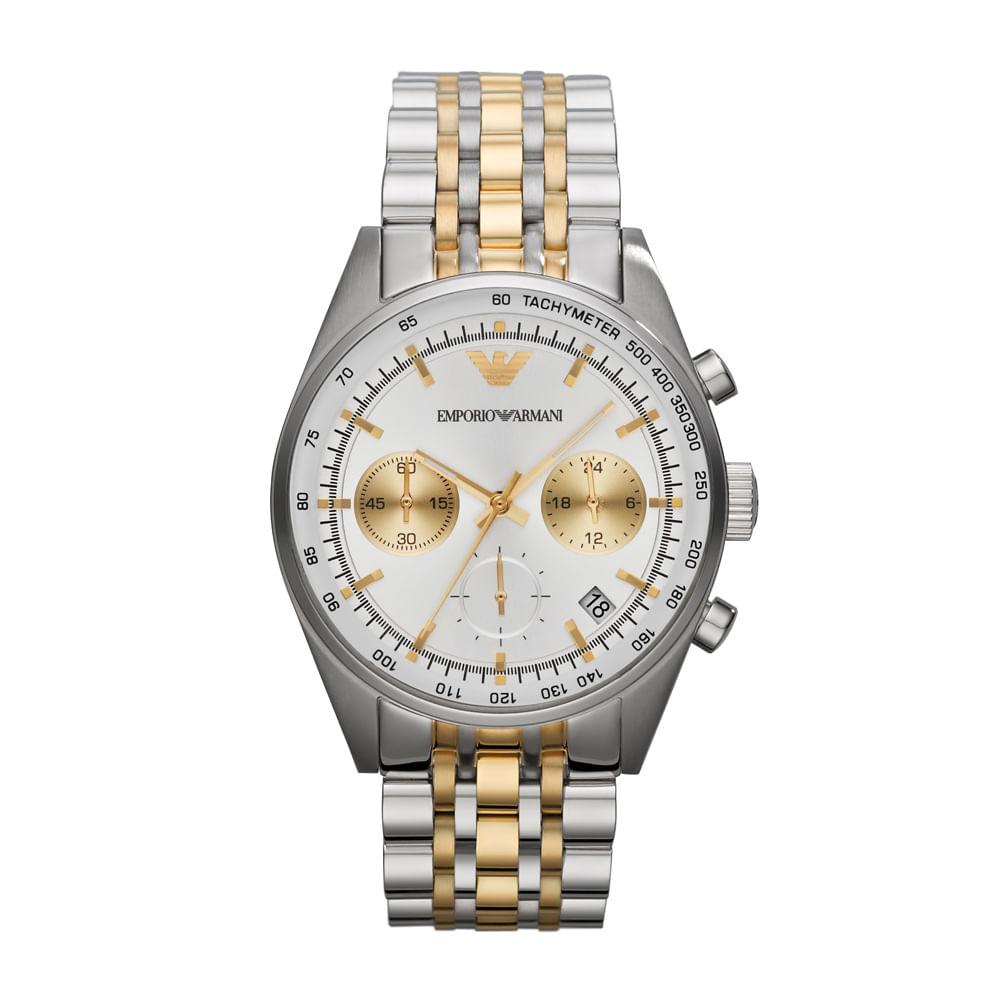 Relógio Emporio Armani Masculino Prata e Dourado - HAR6116 Z ... 2a7bf66565