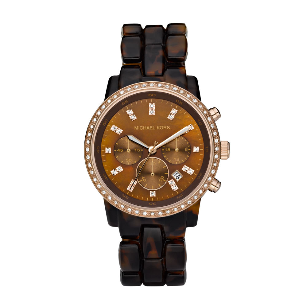 3402b00cf1078 Relógio Michael Kors Feminino Casco De Tartaruga - OMK5366 N ...