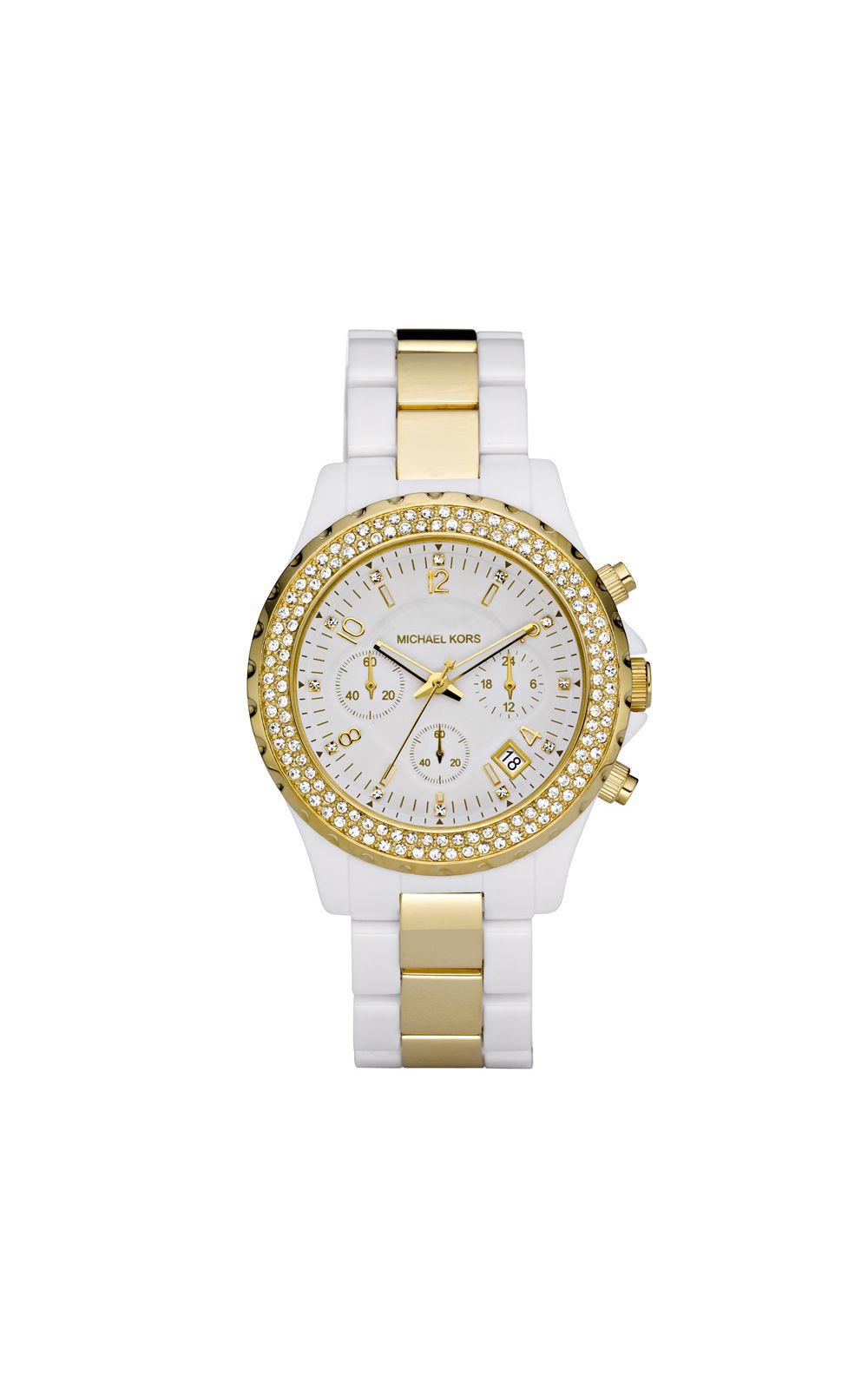 793332506 Relógio Michael Kors Feminino Branco e Dourado - OMK5355/N | Opte+
