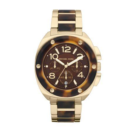 818556d16 Relógio Michael Kors Feminino Dourado e Casco De Tartaruga - OMK5593/Z