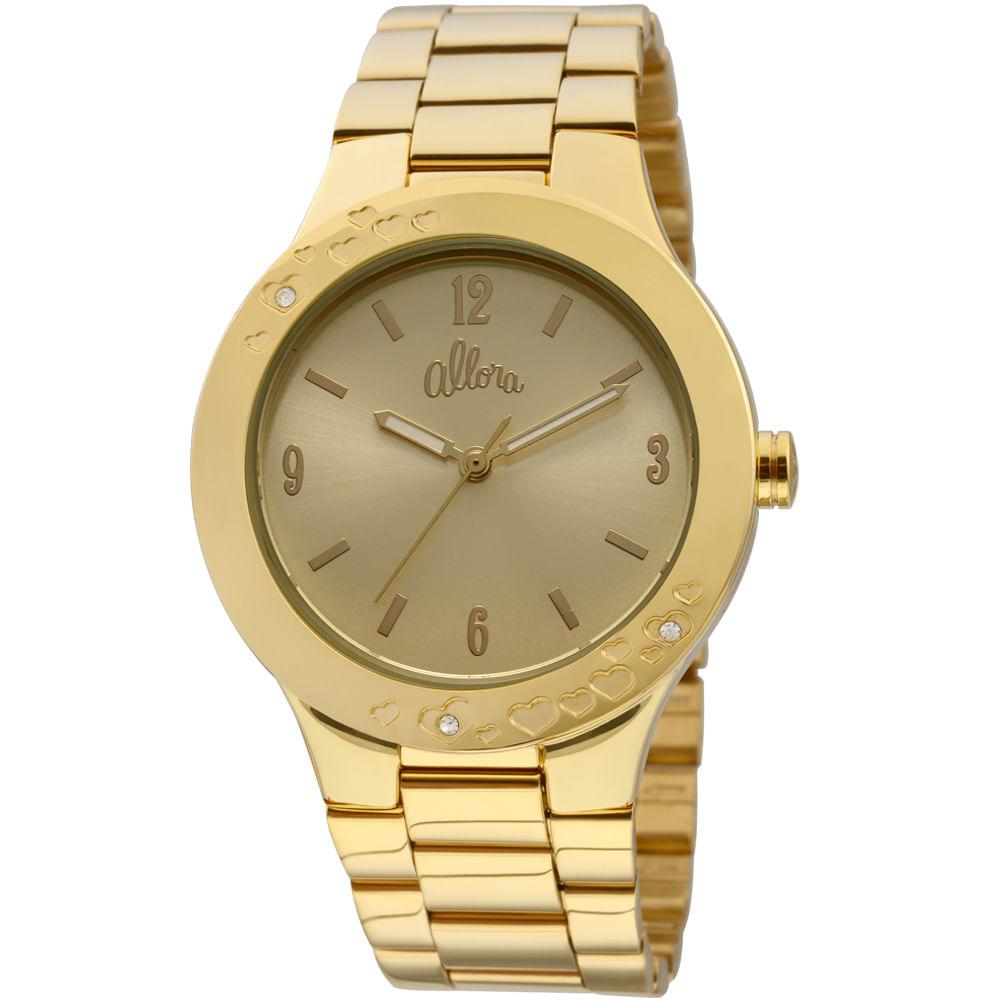 ce063de3599 Relógio Allora Feminino Dourado - AL2035IQ 4D - timecenter