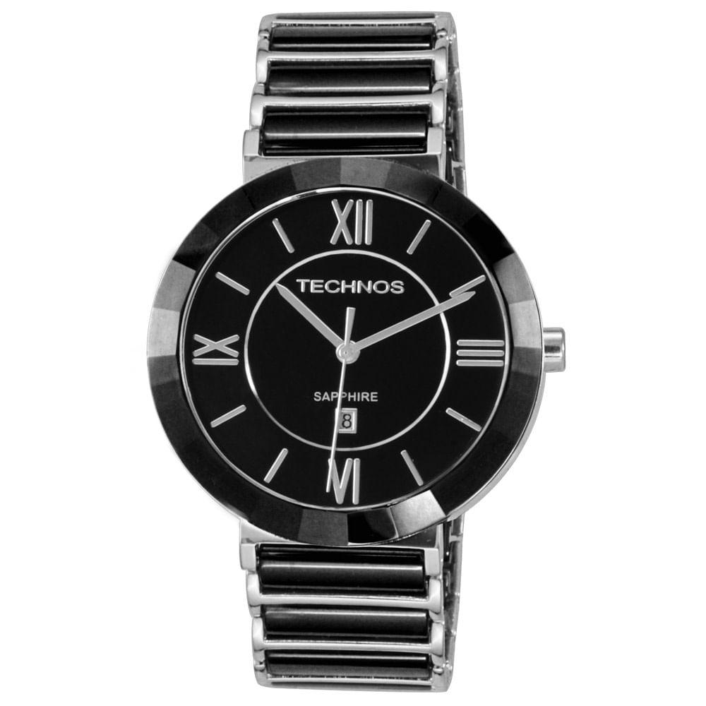 f0717089b50 Relógio Technos Feminino Preto e Prata - 2015BX 1P - timecenter
