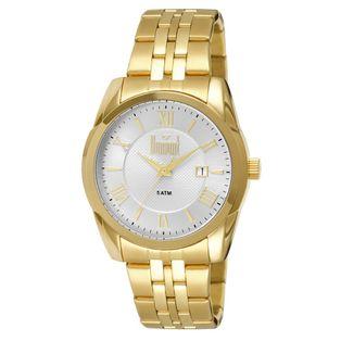 b47a36c5a31 Relógio - Dumont Aço Dourado Branco Analógico Metal Masculino ...