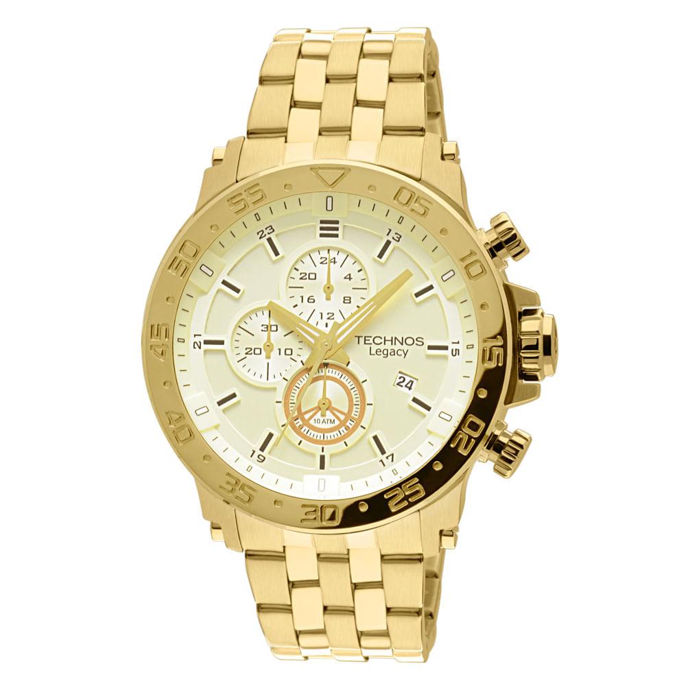 Relógio Technos Masculino Analógico Dourado JS15AO 4X - timecenter a214d2e585