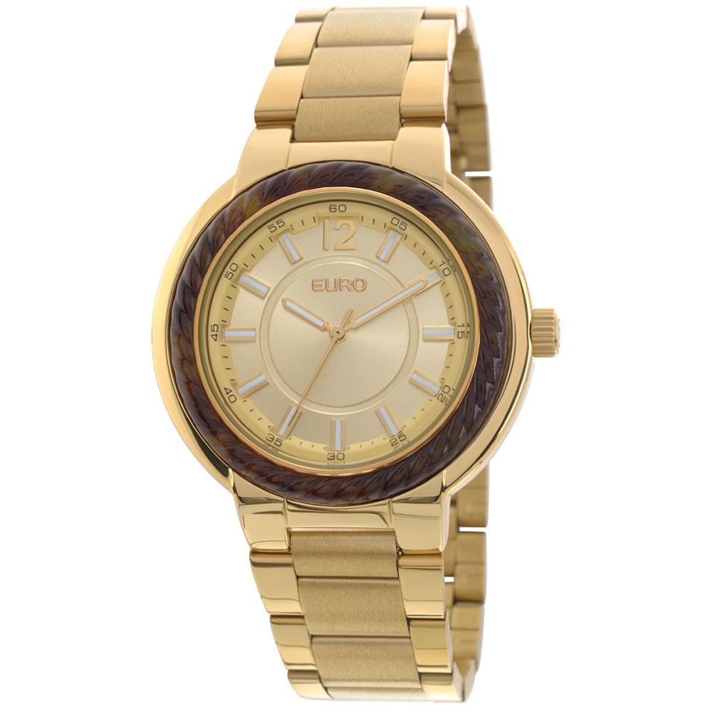 ad489fe45f7 -40%. EU2035YAL4D. Euro. Relógio Euro Feminino Navy EU2035YAL 4D-Dourado