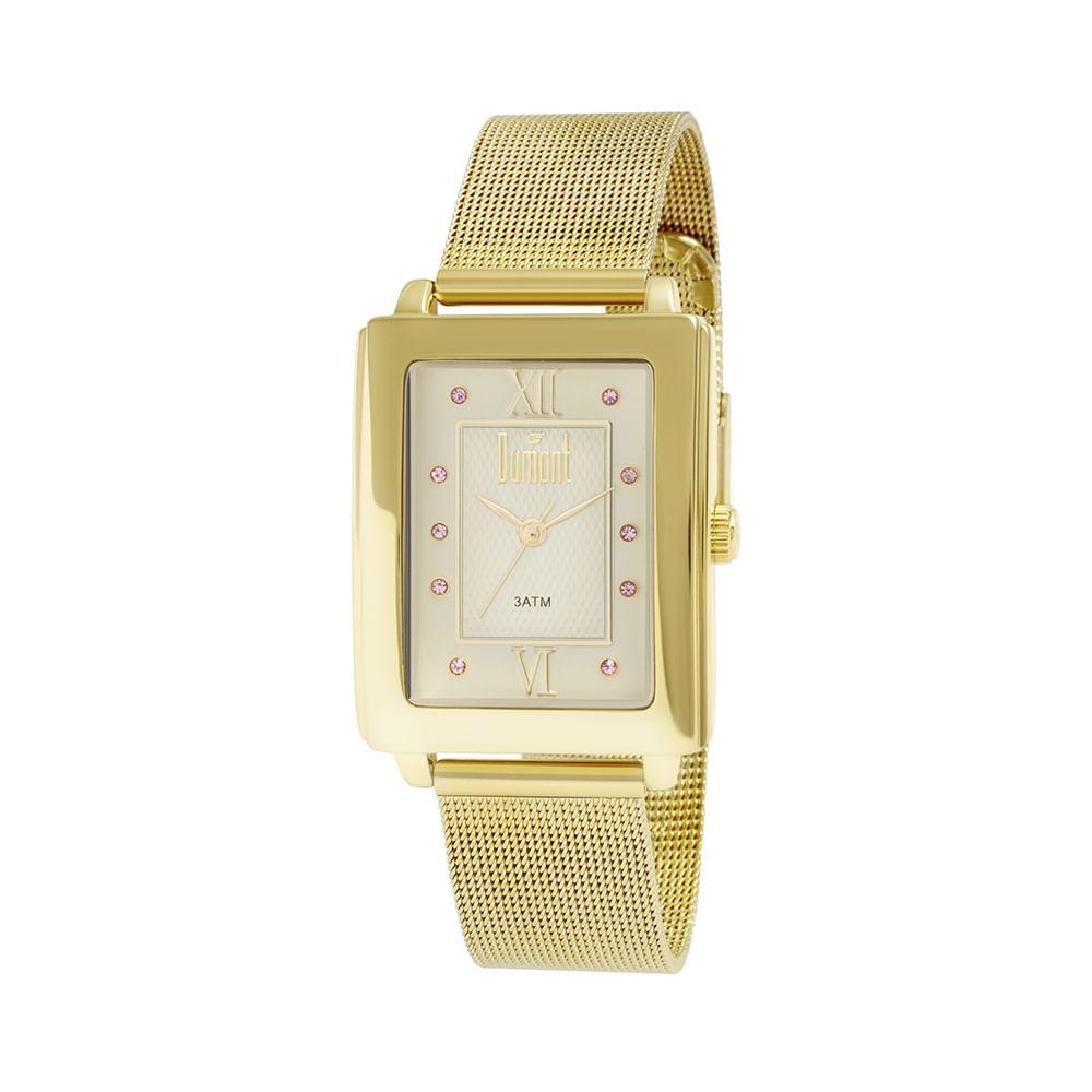 cb4295040e1 Relógio Dumont Feminino London DU2036LTK 4D Dourado - timecenter