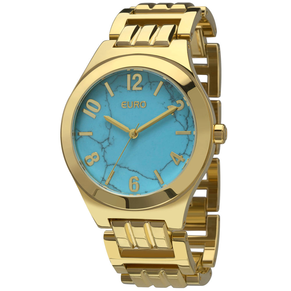 Kit Relógio Euro Turquesa Dourado - EU2033AG K4A - timecenter b9d75a8fc6