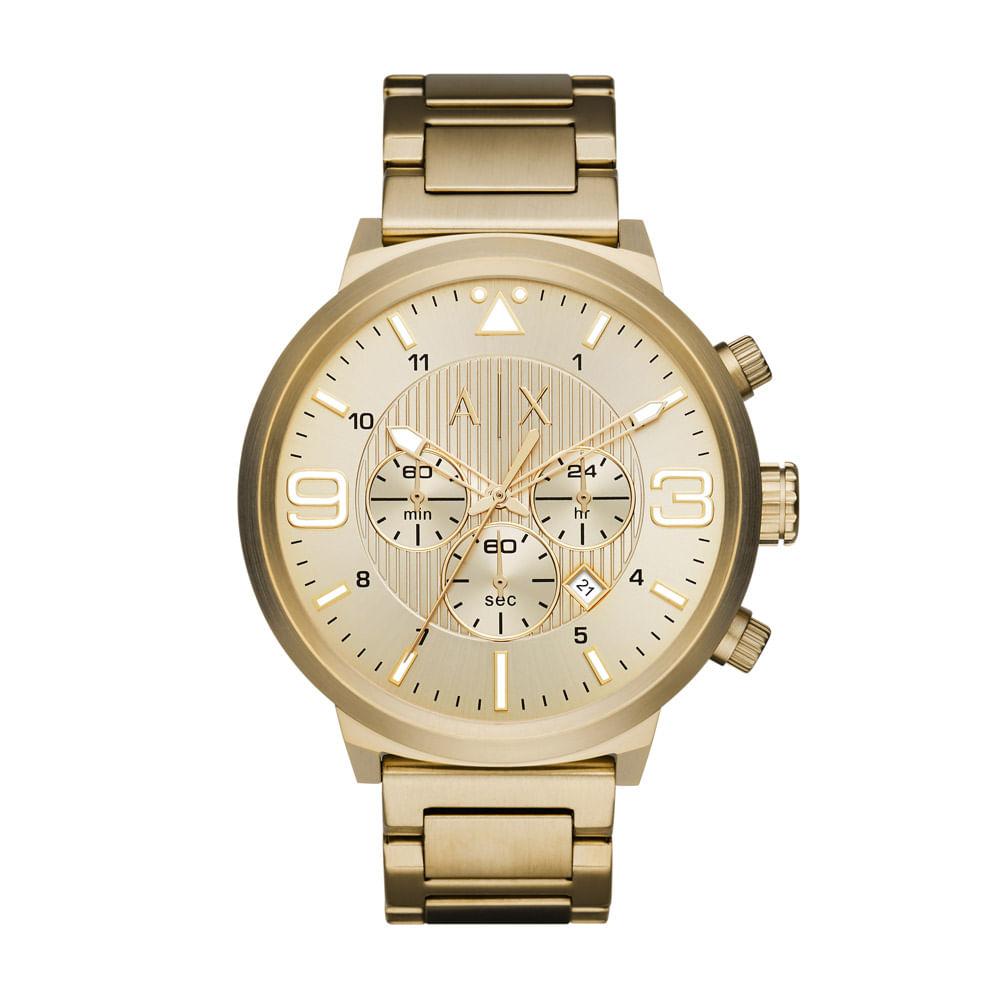 e5c432fc94e Relógio Armani Exchange Masculino Dourado - AX1368 4DN - Tempo de ...