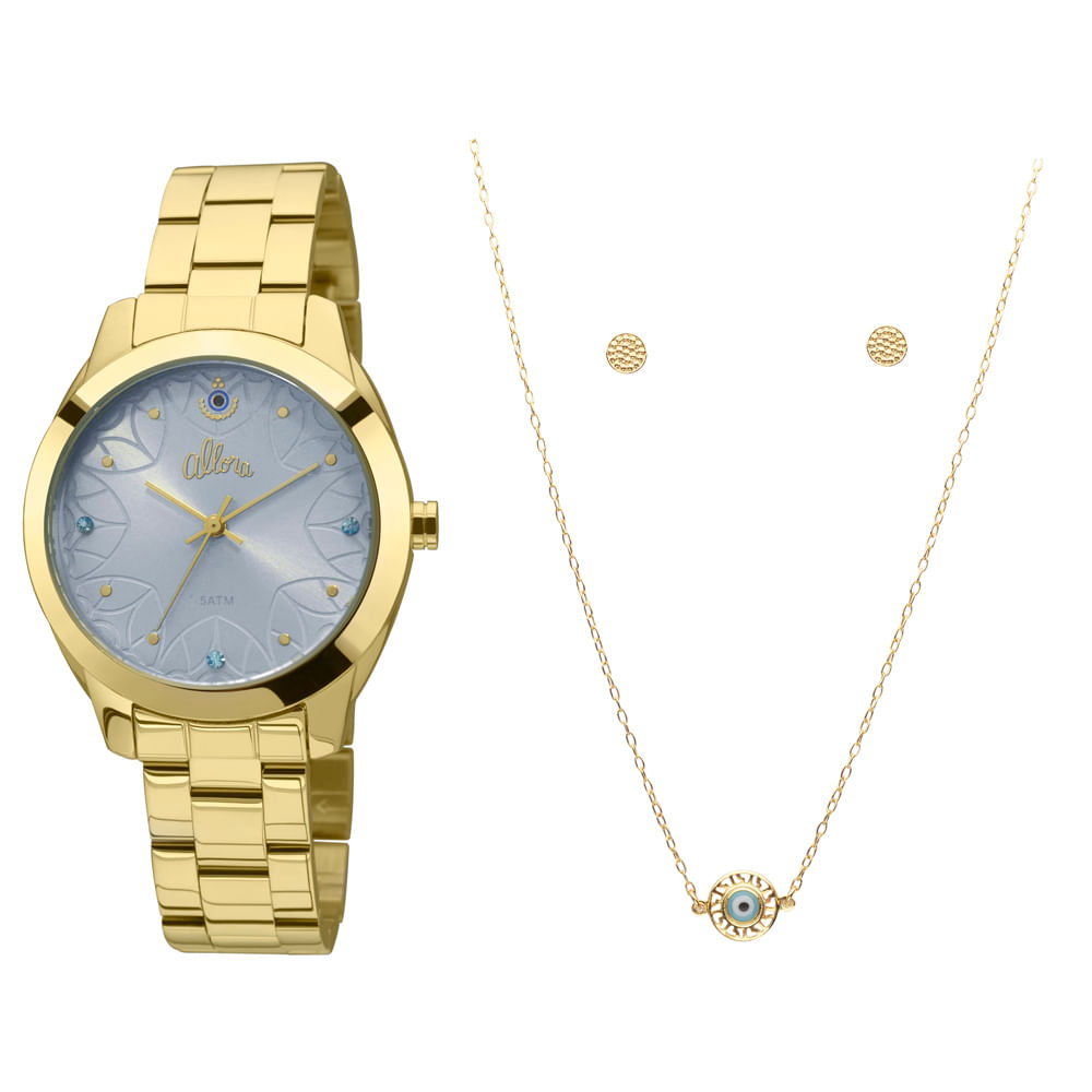850b30390bdf2 Kit Relógio Allora Segredos do oriente Dourado - AL2035FCM K4A ...