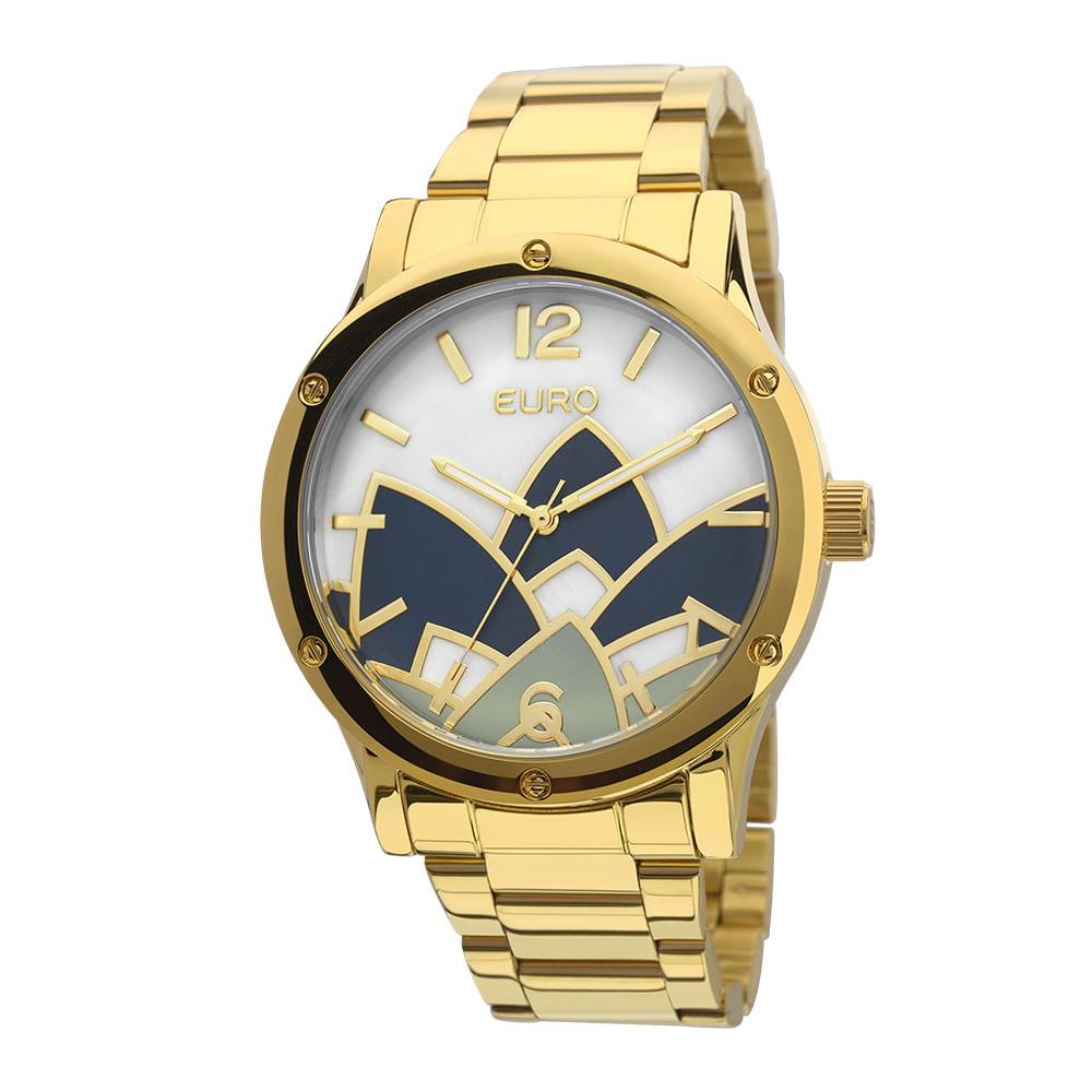 51fdaa15443 Relógio Euro Feminino Madrepérola Dourado - EU2035YCX 4D - timecenter