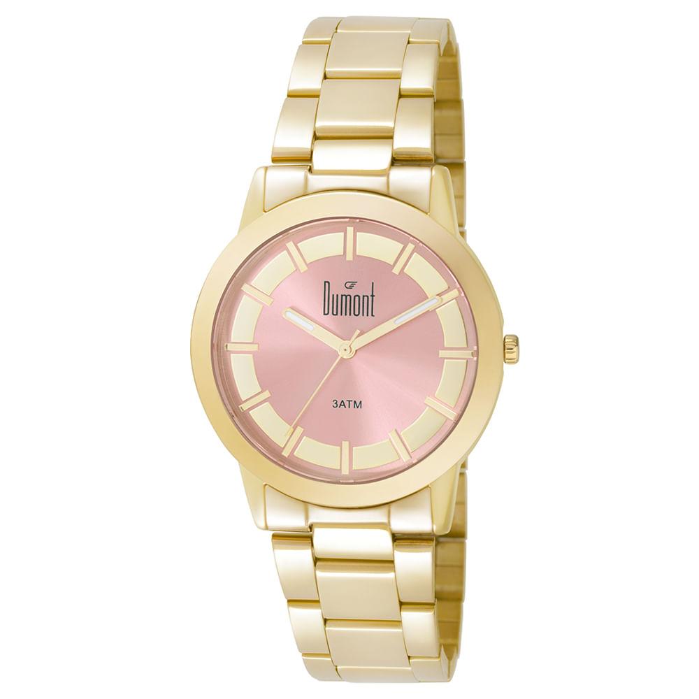 95dd21ad4ec15 Relógio Dumont Feminino London DU2035LPK K4T Dourado - timecenter