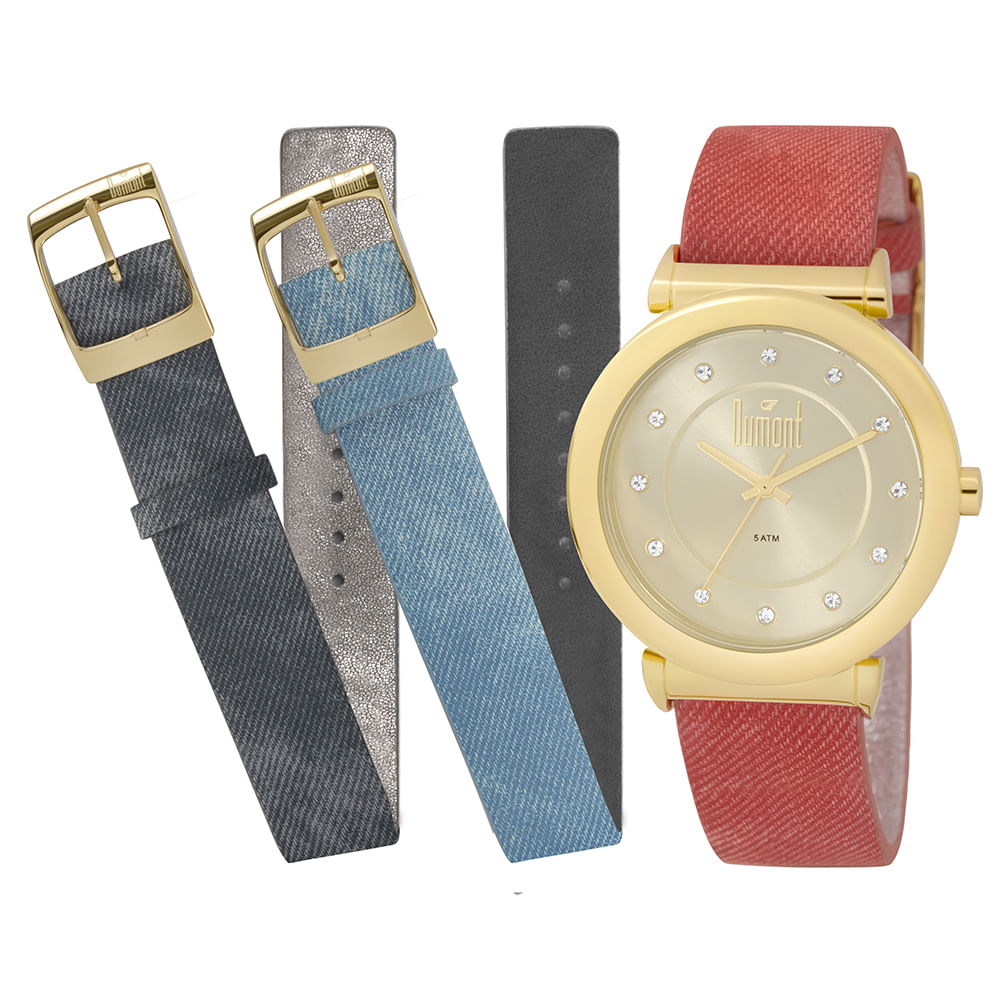 12032571045 Relógio Dumont All Color Dourado - DU2036LTQ 2D - timecenter