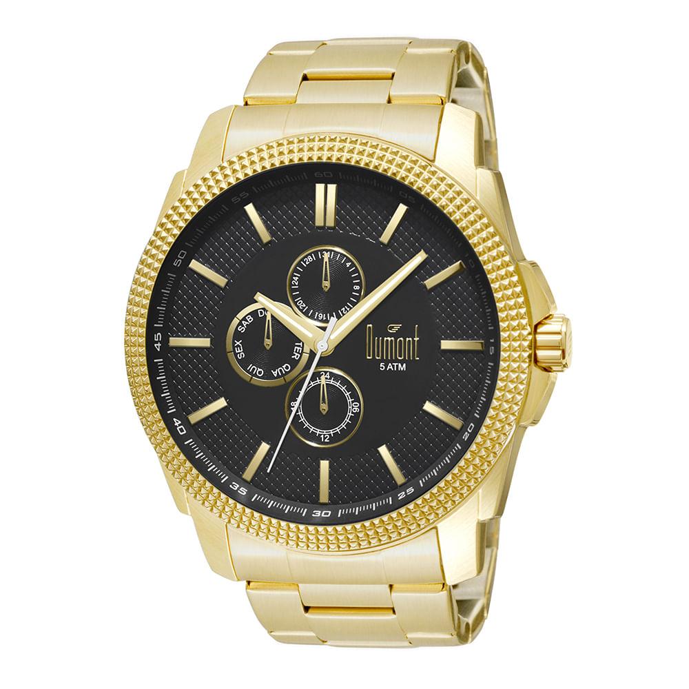 211470cab16 Relógio Dumont Masculino Traveller DU6P27AC 4P Dourado - timecenter