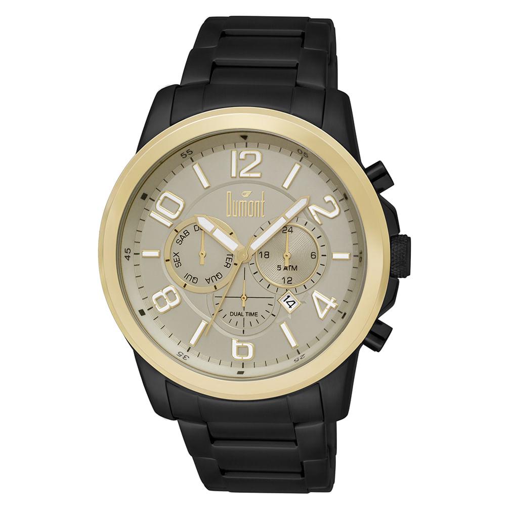 40444debf5f Relógio Dumont Masculino Traveller DUJP25AB 3D Preto - timecenter