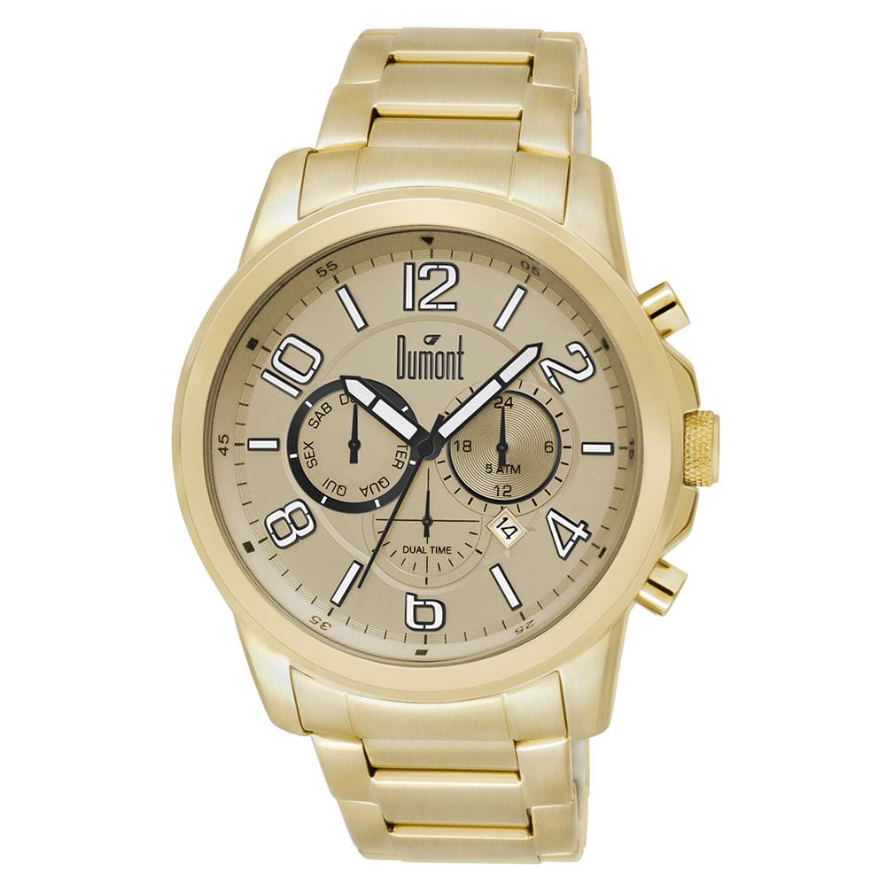 2f6cccd3af5 Relógio Dumont Masculino Traveller DUJP25AA 4D Dourado - timecenter