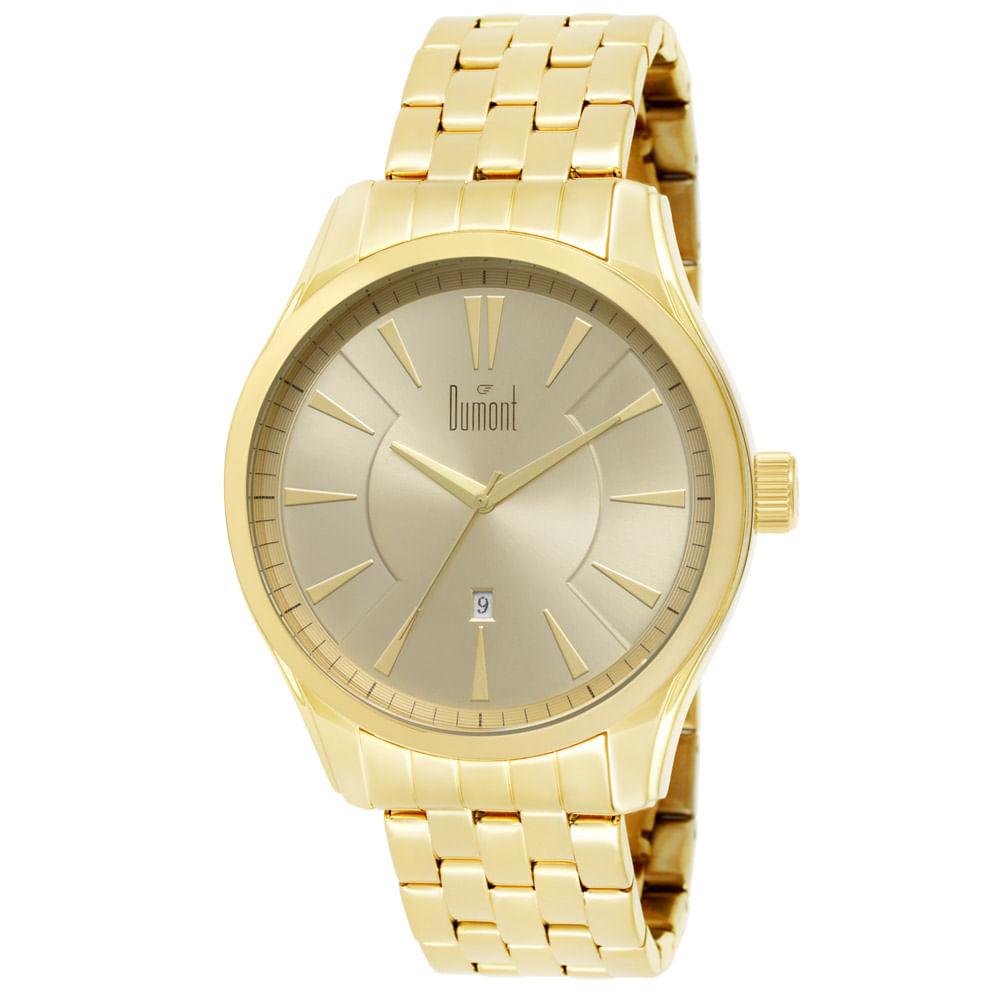 56c54dcd51a Relógio Dumont Masculino Slim DU2315AV 4D Dourado - timecenter