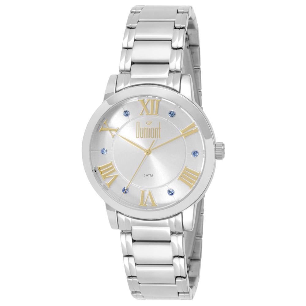 763d021f40a Relógio Dumont Feminino London DU2036LTG 3K Prata - timecenter