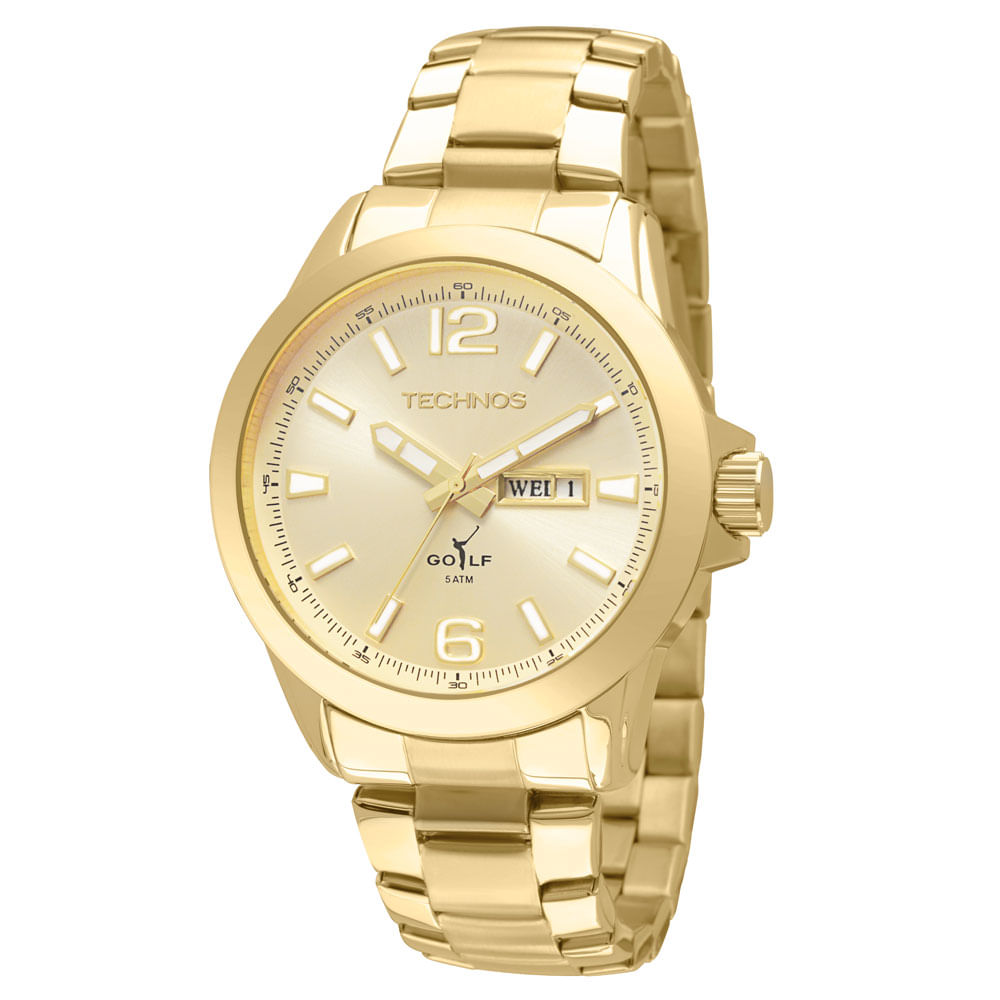Relógio Technos Masculino Dourado - 2105AU 4X - timecenter 9ed93635fa