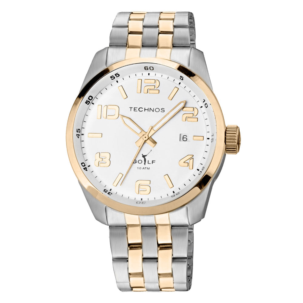 c814f132224 Relógio Technos Unissex Prata e Dourado - 2315GD 5B - timecenter