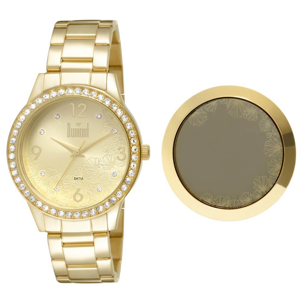 3af00816110 Relógio Dumont Feminino VIP DU2036LTS 4D Dourado - timecenter