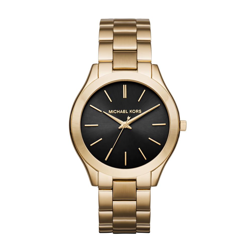 1f38a583cdb23 Relógio Michael Kors Feminino Slim Runway Dourado - MK3478 4PN ...