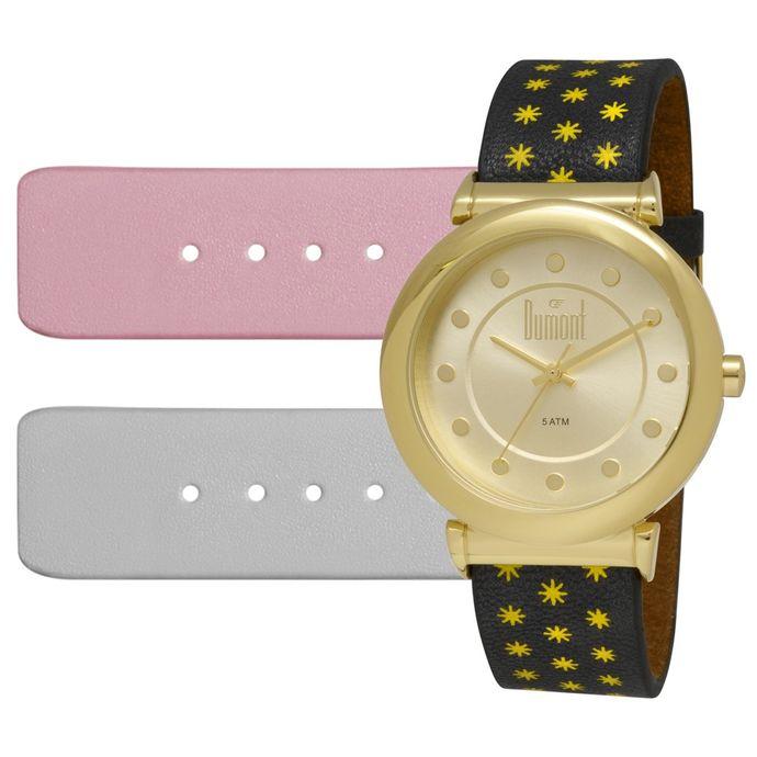 Relógio Dumont VIP Feminino DU2035LSS 2D Dourado 52e04edca2