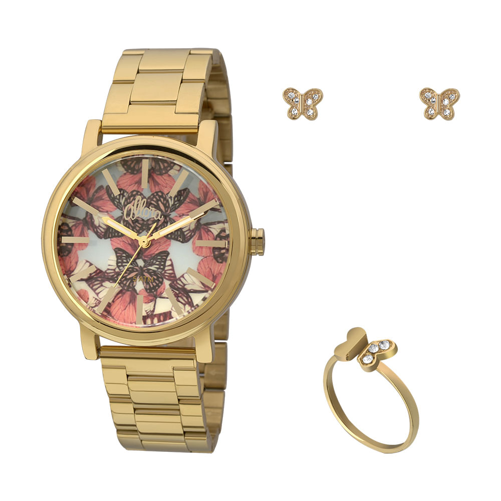 Allora. Kit Relógio Allora Feminino Asa de Borboleta AL2036CH K4A - Dourado ace2dce46a
