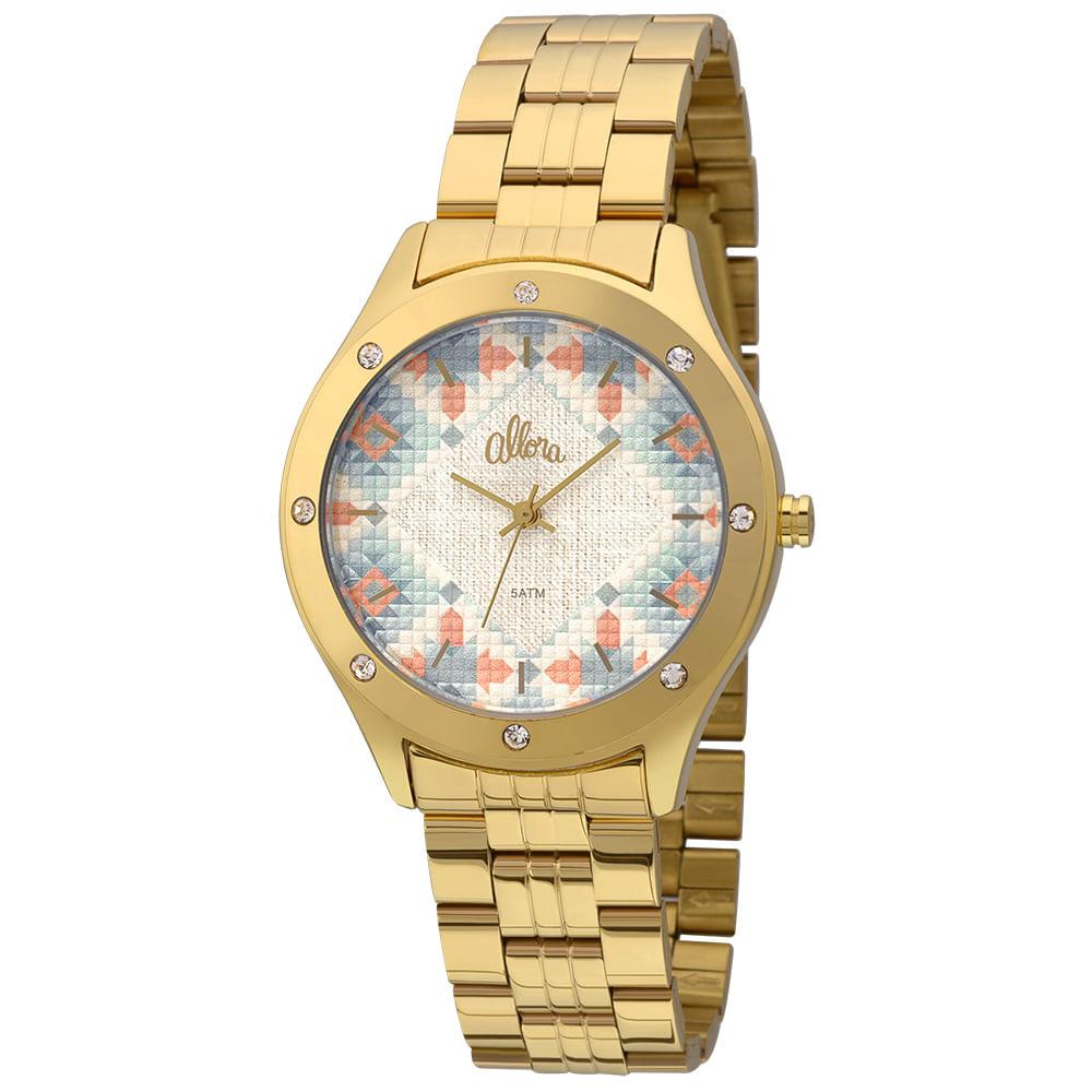Relógio Allora Feminino Tramas Étnicas AL2035FFS 4A - Dourado ... eb1f38f428