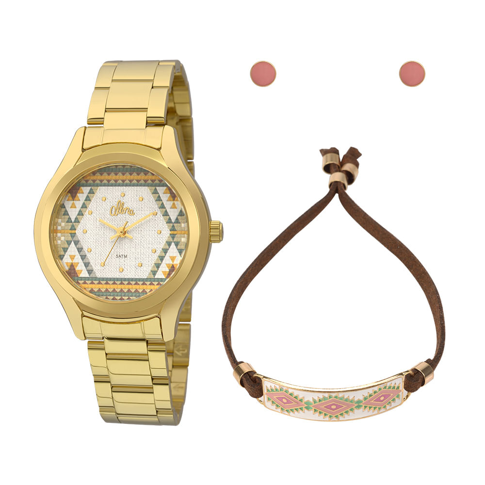 7b64944b512 Kit Relógio Allora Feminino Tramas Étnicas AL2035FFV K4V - Dourado ...