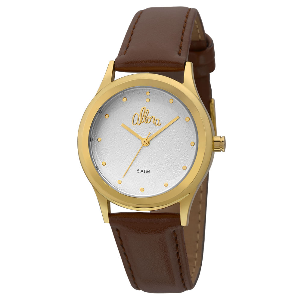 da5d6bb500e Relógio Allora Feminino Flores Geométricas AL2035FDU 2K - Marrom ...