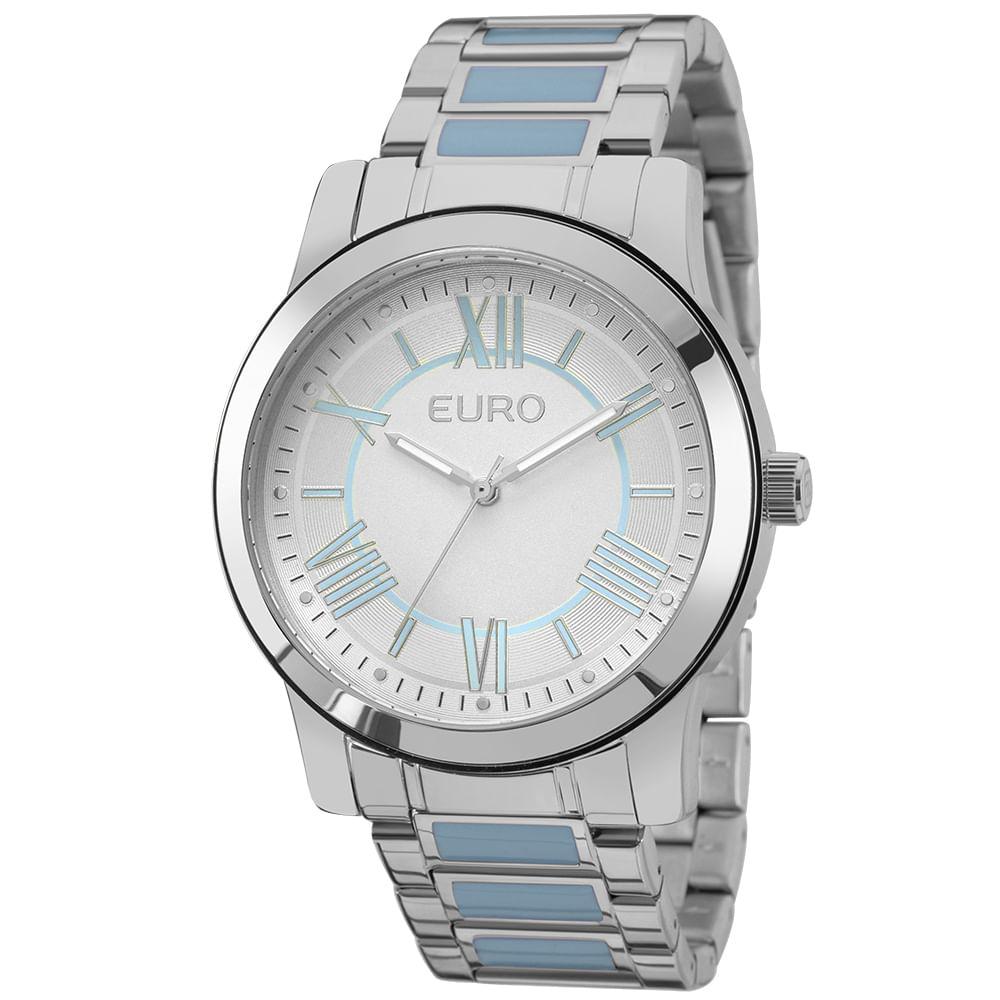 34e07cf7d6c O relógio feminino prateado Euro é um sucesso de vendas! Ele tem banho  prateado na pulseira