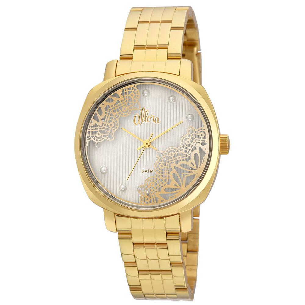 Kit Relógio Allora Feminino Listras e Rendas AL2035FGI K4K - Dourado ... 9f342b077f