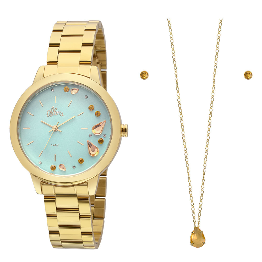 3f4630d5006 Kit Relógio Allora Feminino Pendeloques AL2036FGP K4V - Dourado ...