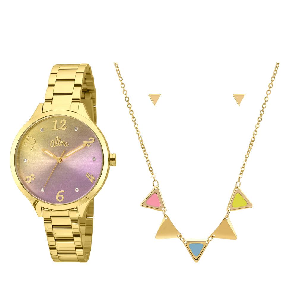 b93f8ae7aa9 Kit Relógio Allora Feminino Candy Colors AL2036CG K4G - Dourado ...