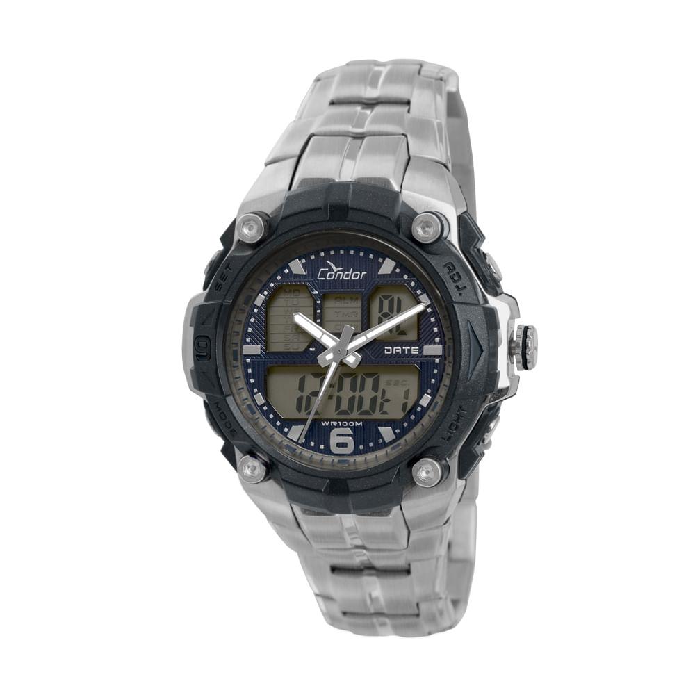 20f68c275b1 Relógio Condor Masculino Anadigi COAD0912 3P - Prata - timecenter
