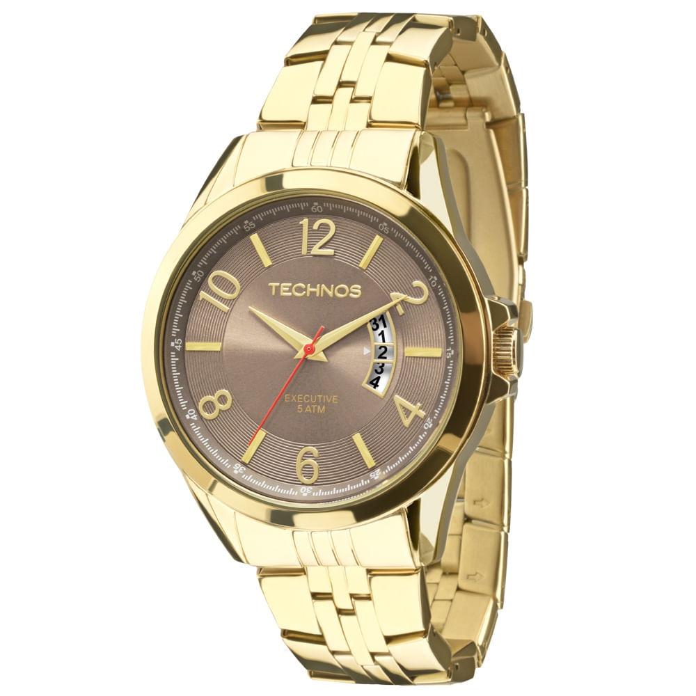 413ea21cbba3e Relógio Technos Executive Masculino 2115KTH 4M Dourado - timecenter