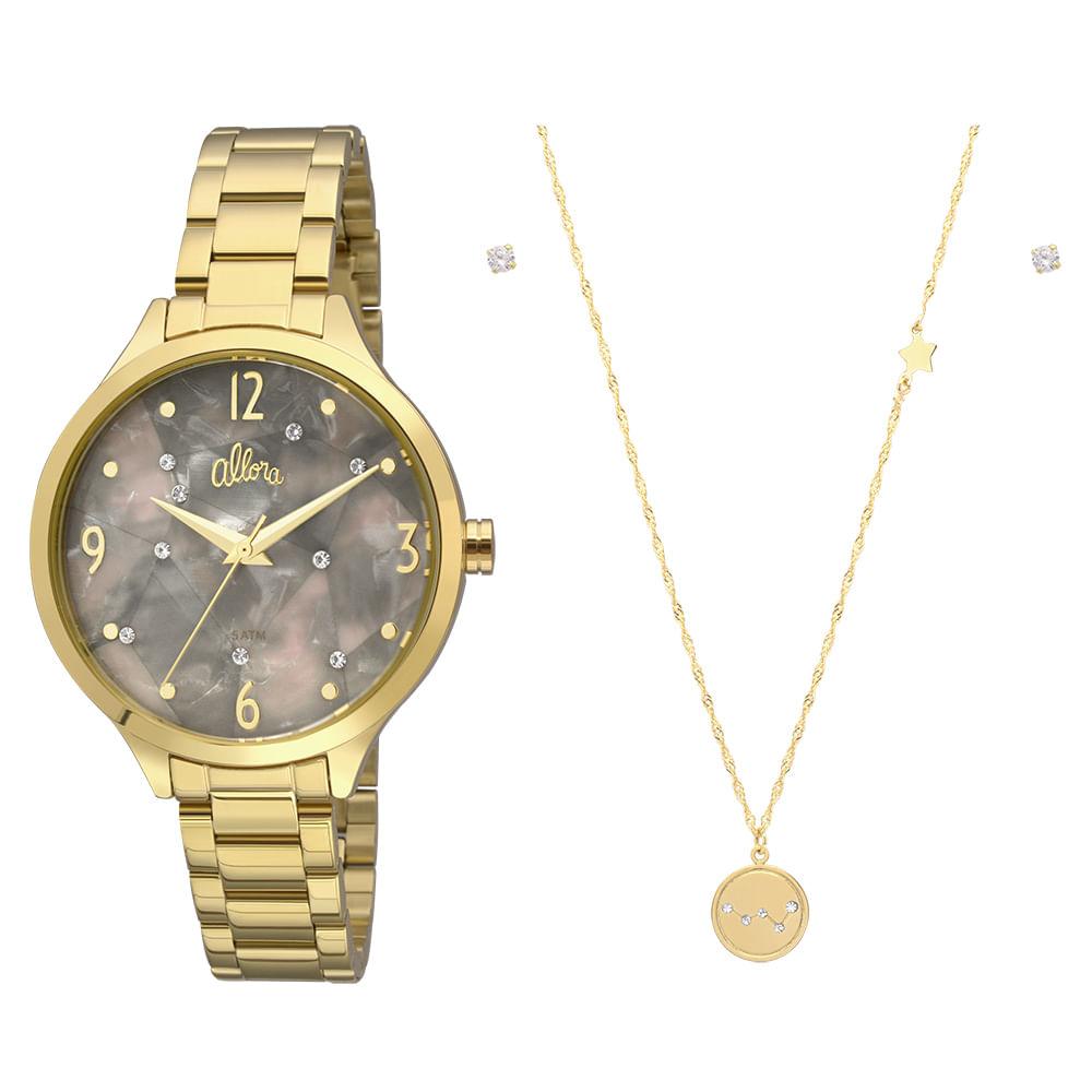 1ec7c5fa660 Kit Relógio Allora Feminino Elementos de Energia AL2036FII K4C ...