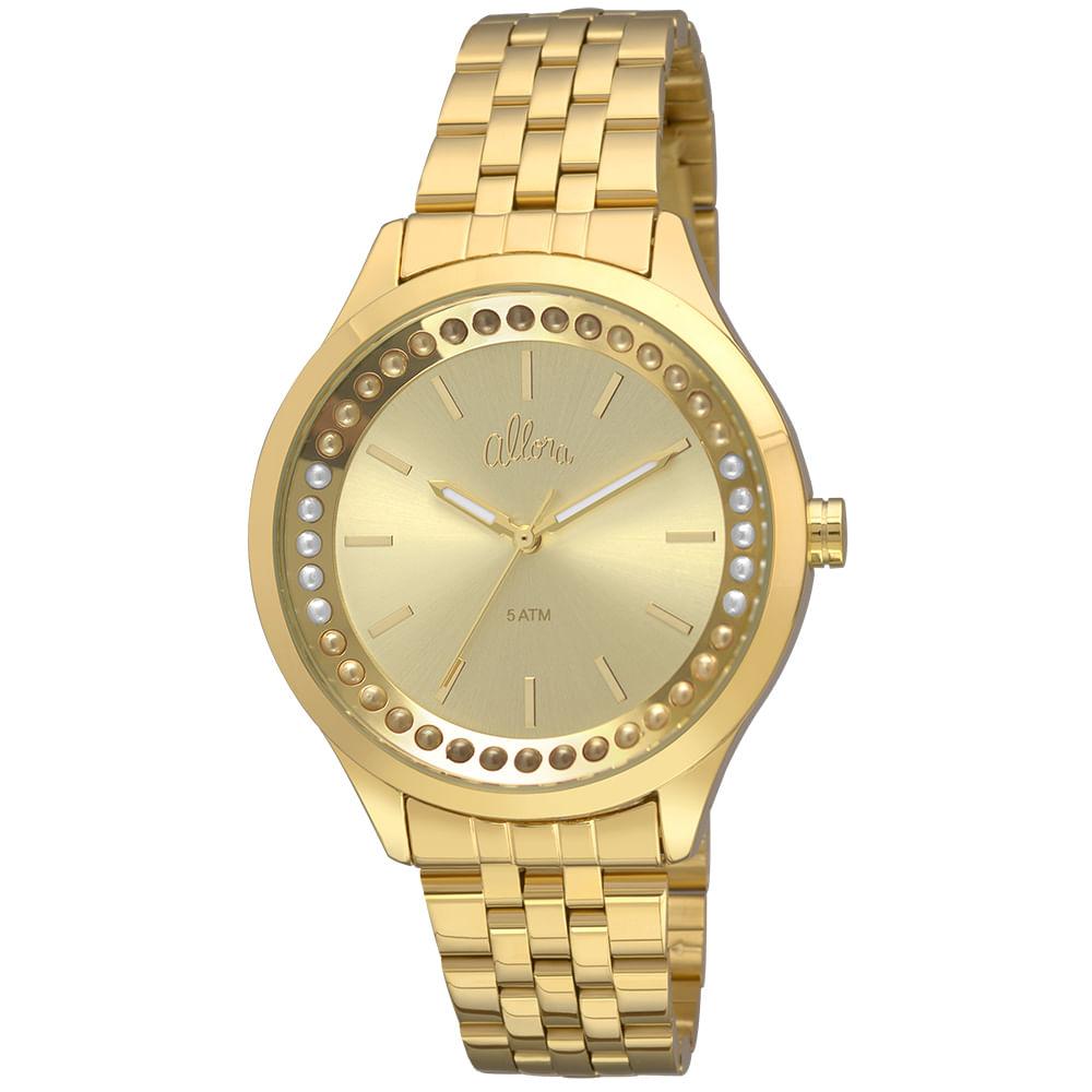e526699058499 Relógio Allora Feminino Flor da pele AL2035FHY 4X - Dourado - timecenter