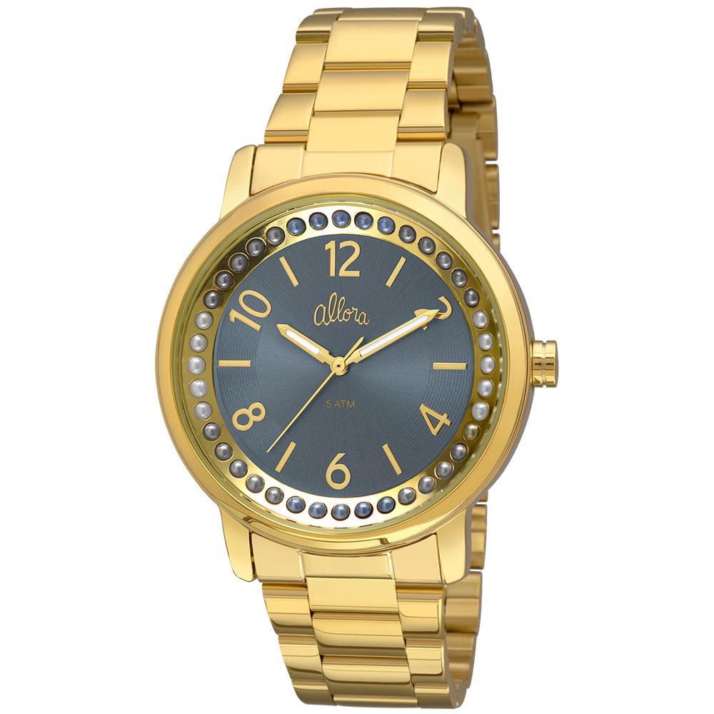 3d438b199f3 Relógio Allora Feminino Perolas AL2035FIA 4A - Dourado - timecenter