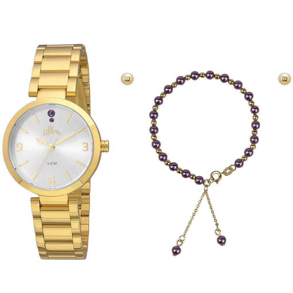 1803889d62bef Kit Relógio Allora Feminino Perolas AL2036FIE K4K - Dourado - timecenter
