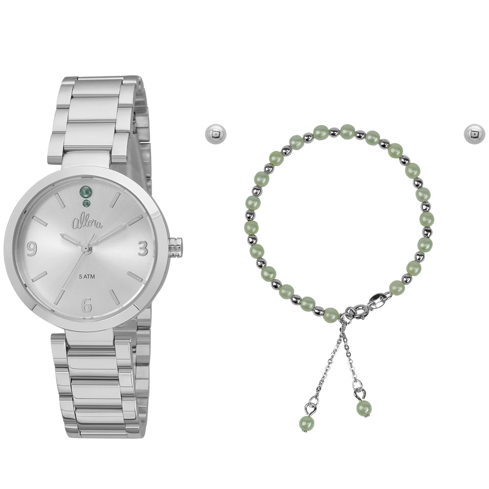 e4cf7f17158 Kit Relógio Allora Feminino AL2036FID K3K - Prata - timecenter