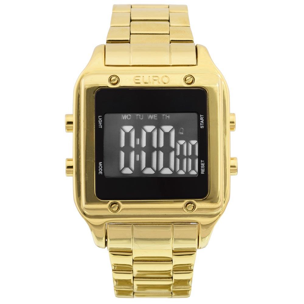 bbe87029804 O Relógio Dourado Feminino Euro Fashion Fit é o queridinho de todos! Ele é  digital e tem a caixa quadrada (formato diferenciado!). Ele tem banho todo  ...