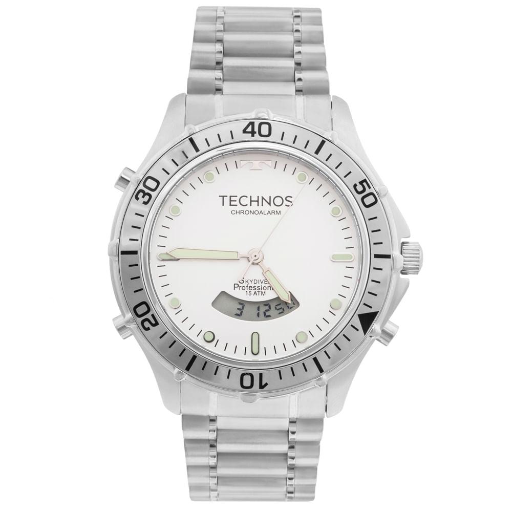 3d10cb37f8cbd Relógio Technos Skydiver T205IW 1P Prata - timecenter
