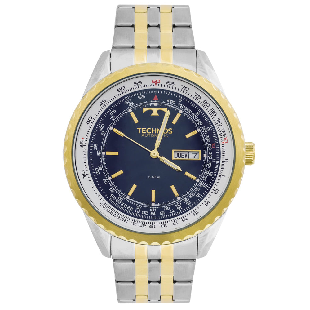 Relógio Technos Automatico 8205NO 5A Bicolor - Tempo de Black Friday 18cb30d6e3