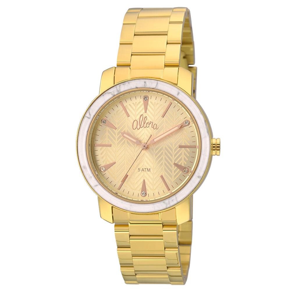 ef7060a3bd893 Kit Relógio Allora feminino Marmorizados AL2035FKF K4X - Dourado ...