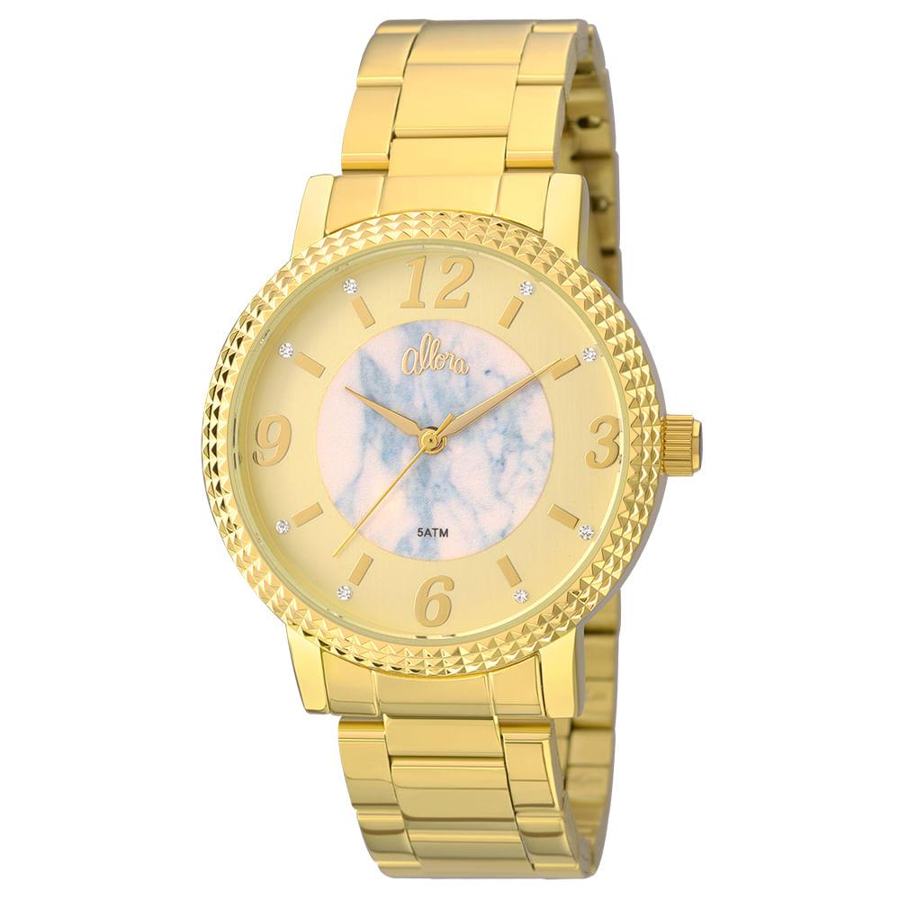 f233cbc967a Kit Relógio Allora feminino Marmorizados AL2035FKH K4A - Dourado ...