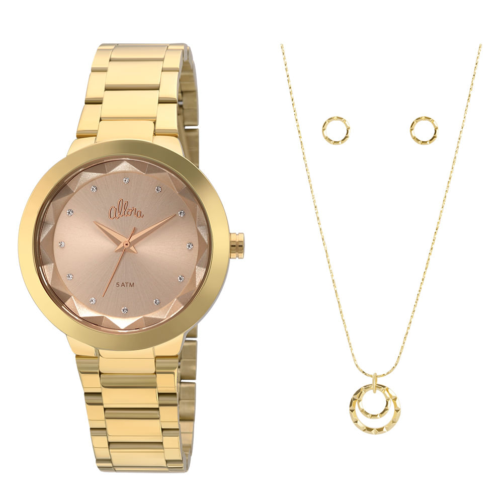 05d7c95b1c1 Kit Relógio Allora Feminino Facetados AL2035FKQ K4K - Dourado ...