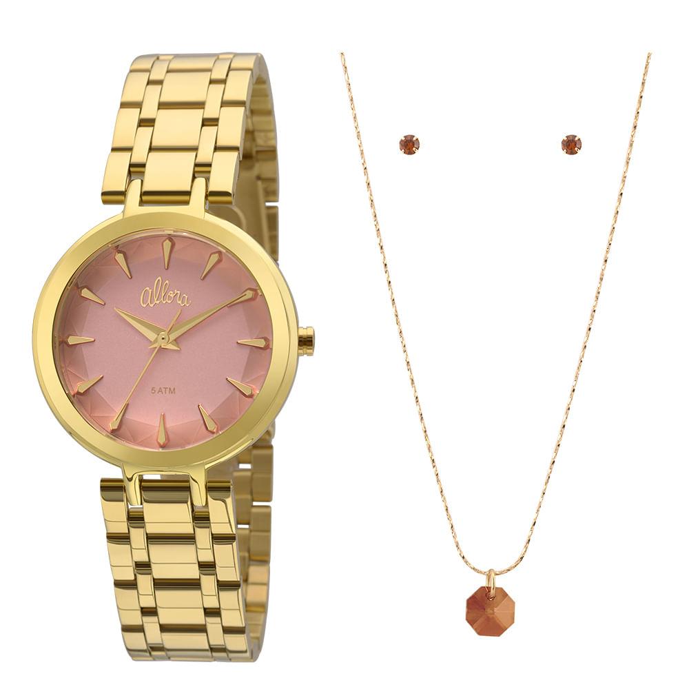 Allora. Kit Relógio Allora Feminino Facetados AL2036FLL K4T - Dourado d25371c959