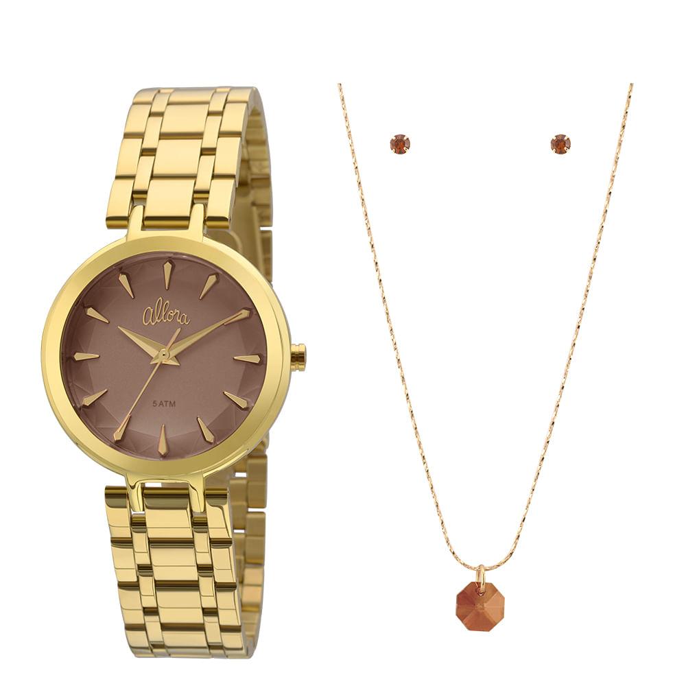 b102e3016ff Kit Relógio Allora Feminino Facetados AL2036FLL K4M- Dourado ...